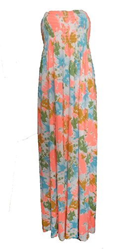Femmes Imprimé Sheering Rassemblez boobtube Bandeau été bretelles Robe longue vêtements de plage Taille 36-42 fleur rose et turquoise