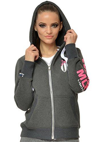 M.Conte Rachel Damen Hooded Sweater Sweat-Shirt-Jacke S M L XL Weiss Blau Grau Schwarz Pink Mit Kapuze Anthra L (Hut Sherpa Baumwolle)