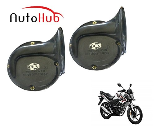 Auto Hub Trumpet Bike Horn For Honda CB Unicorn 150 - Set of Two (Black)  available at amazon for Rs.549