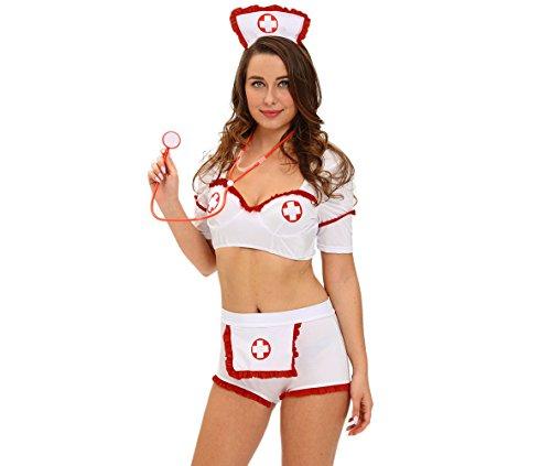 WENRAN Halloween-Rolle Spielen Drogen injektion Flirt Krankenschwester Dessous-Weiß ()
