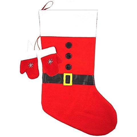 Calza di Natale in feltro, misura grande, 50 cm x 30 cm, confezione da 1 pezzo rosso
