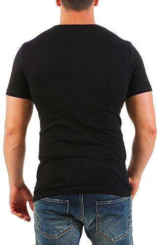 2er Pack Herren T-Shirt Basic mit V-Ausschnitt Einfarbig Uni Regular Fit Schwarz-Grau