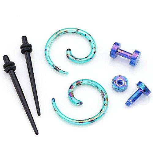 PiercingJ - 3 Paires Acrylique Boucle Clou d'Oreille Tunnel Conique + Helix Spirale + Plug Ecarteur Expandeur (2 - 12mm) Vert/Bleu Fonce 2mm
