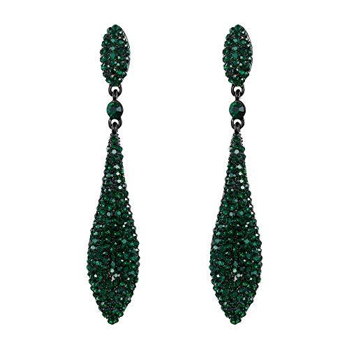 Orecchini donna,ever faith cristallo austriaco doppio goccia d'acqua orecchino trafitto pendente verde nero-fondo