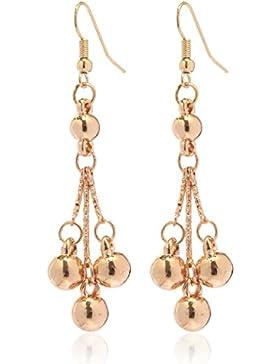 2LIVEfor Ohrringe lang hängend Ohrringe Kugel hängend gold Ohrringe Ethno in Tropfenform verziert Ohrringe Bohemian...
