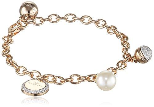 Rebecca Damen-Armband Hollywood Vergoldet teilvergoldet Zirkonia weiß Synthetische Perle Weiß 17.0 cm - BHOBOO03