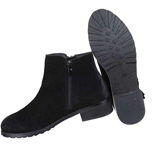 Damen Stiefeletten Schuhe Wildleder Boots Used Optik Schwarz Braun Grau 36 37 38 39 40 41 Schwarz