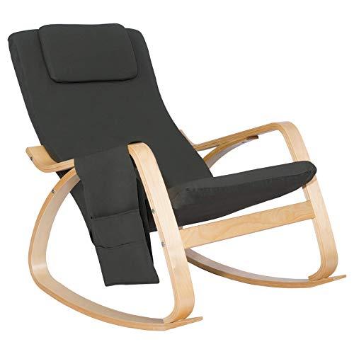 Woltu sks01gr sedia sdraio imbottita poltrona a dondolo poltroncina relax con schienale braccioli stoffa lino legno grigio