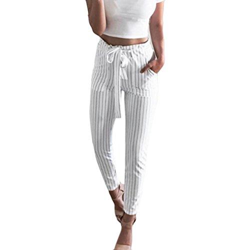 Leggings Occasionnel Femme Sport Amlaiworld Femmes Jambières Taille Haute Sexy Pantalon à Imprimé Floral à Rayures Pantalon Large (L, Blanc)