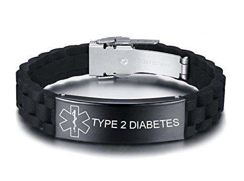 VNOX Personalisierte Benutzerdefinierte Medical Alert Edelstahl ID Tag Schwarz Silikonkautschuk Einstellbar Armband Für Männer,Type 2 Diabetes
