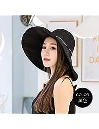 LIUXINDA-ZZM Color sólido Cuerda sombrilla Sombrero Femenino sombrilla  Playa Vacaciones Verano Viajes paño Protector 17362e9a011