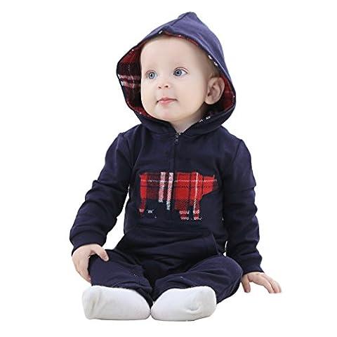 MICHLEY Herbst kleiner Junge vermummte overall baby strampler bekleidung dunkelblau 90cm (Nicht Grund Halloween Kostüme)