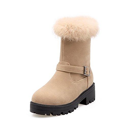 AllhqFashion Damen Mittler Absatz Niedrig-Spitze Gemischte Farbe Stiefel, Cremefarben, 42