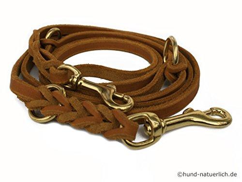 hund-natuerlich Lederleine 3-Fach verstellbar Cognac Hellbraun Hundeleine aus Leder, Messing Fettlederleine braun (2,40m x 8mm)