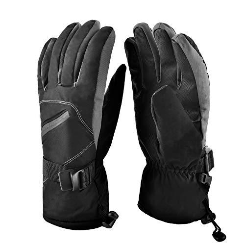 Charlemain guanti da sci, guanti invernali, guanti da sci unisex inverno caldo impermeabile, per sci, snowboard, moto, bici, alpinismo, trekking