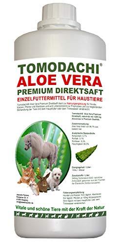 Tomodachi Aloe Vera für Pferde, Futterzusatz, Nahrungsergänzung Pferd, reines Naturprodukt ohne Chemie, Aloe Vera Premium Direktsaft aus dem Innengel frischer Aloe-Vera Pflanzen 1 Liter