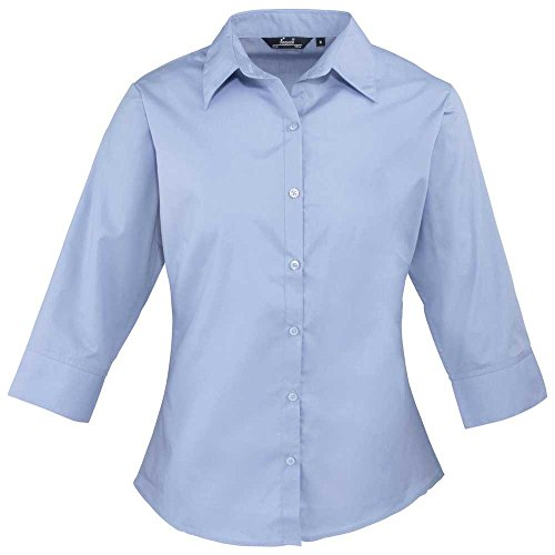 Premier Womens 3/4 Sleeve Popline Formal Work Blouse Mid Blue