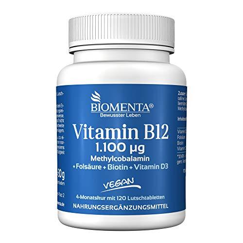BIOMENTA VITAMIN B12 HOCHDOSIERT | AKTION!!! | 1.100 mcg Methylcobalamin + Vitamin D3 + Biotin + Folsäure | VEGAN | 4 MONATSKUR | 120 Vitamin-B12-Lutschtabletten -