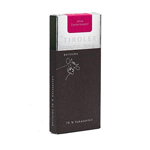 Tiroler Edle Schokolade Purissima Maxima 70% zuckerfrei 50 g