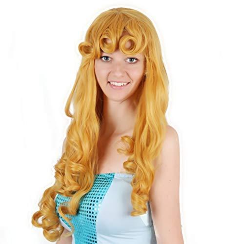 QIQI Cosplay Party Perücke Golden Brown Langes Lockiges Haar Anime Kostüme Perücke Für Kinder Frau Und Mann