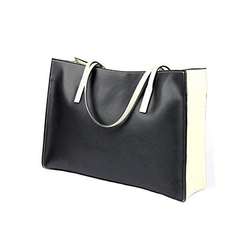 Plover's Bag Damen Kuhleder Schultertasche Handtasche Große Tragetasche schwarz/weiß