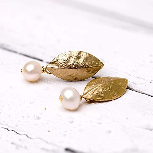 Moderner Perlen-Schmuck, elegante Perlen-Stecker gold, Braut-Schmuck, Hochzeit, vergoldete Blatt-Ohrstecker mit echter Süßwasser-Perle, für Sie