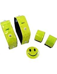 Ultrasport LED Sicherheits 5er Set: 2x LED 3M Scotchlite Reflektorband, 2x Schnapp-Reflektorband, 1x Reflektor Smiley Aufkleber – im Dunkeln sichtbares Reflexband für Fahrrad, Rucksack und mehr
