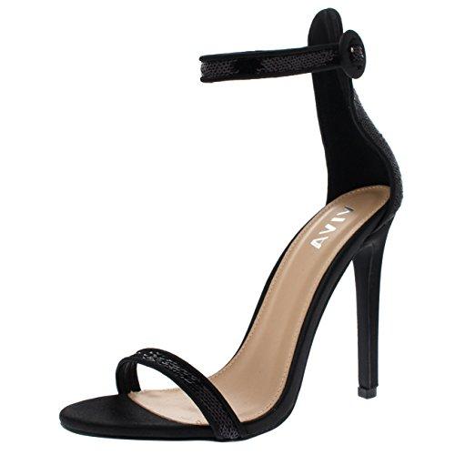 Mujer Lentejuela Resplandecer Correa de Tobillo Tacón Alto Sandalia Noche  Fiesta Zapatos Zapatos - Negro KL0283K 85134cb8ad4a