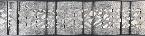 Übergangs-grau Streifen (Zaundruck Uni + Design Streifen aus hochwertigen Vlies - Sichtschutz Doppelstabmattenzaun PVC frei (Venezia-Graphic Einzelstreifen-Laser))