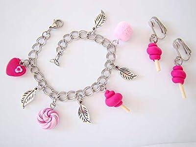 Coffret cadeau anniversaire Bracelet boucles d'oreilles clips bonbons roses fimo enfant
