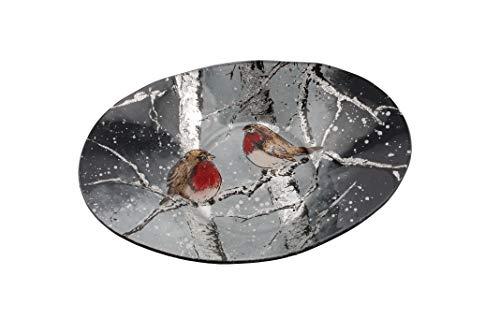 Große ovale Schüssel aus Glas mit Rotkehlchen-Motiv von CGB Giftware's Winter Rotkehlchen Range Tischgeschirr Dekoration Weihnachten -