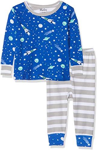 Hatley Hatley Jungen Zweiteiliger Schlafanzug Organic Cotton Baby Pyjama Set Blau (Outer Space) 3-6 Monate