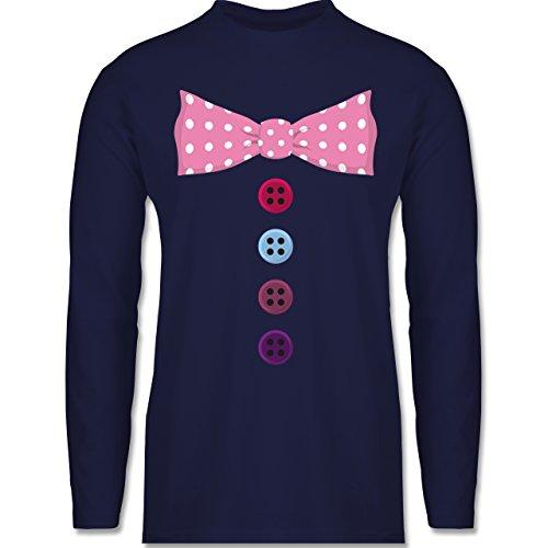 Karneval & Fasching - Clown Kostüm rosa Fliege - Longsleeve / langärmeliges T-Shirt für Herren Navy Blau