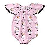 Liusdh Baby-Strampler für Kleinkinder, mit Fliegenarm, Ostern, Kaninchenaufdruck, Jumpsuit
