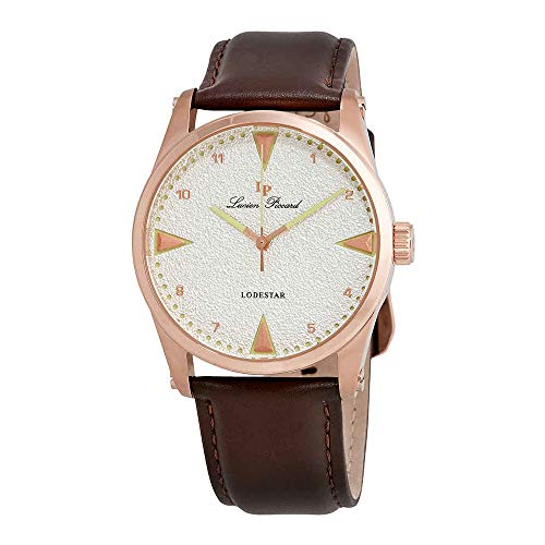 Lucien Piccard Silver Dial Brown Leather Mens Watch 40035-RG-02S-BRW