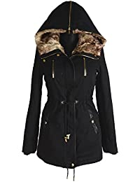 Damen Winter Jacke warme Winterjacke Baumwolle Parka Mantel Rosa Fell 36//38 S