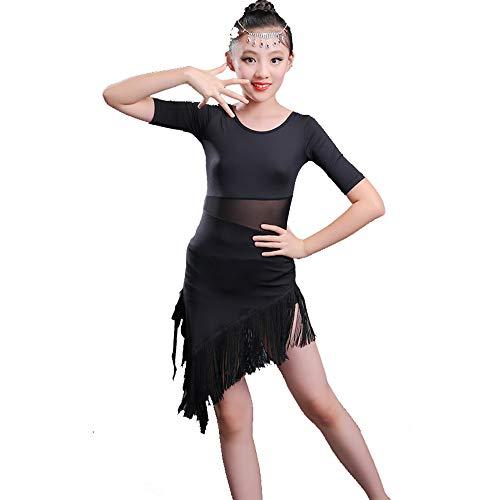 HUO FEI NIAO Tanz Kostüm - Latein Tanz Rock Mädchen Praxis Kleidung Quaste Kostüme Wettbewerb Test Kleidung (Farbe : Schwarz, größe : - Schwarz Tanz Wettbewerbs Kostüm