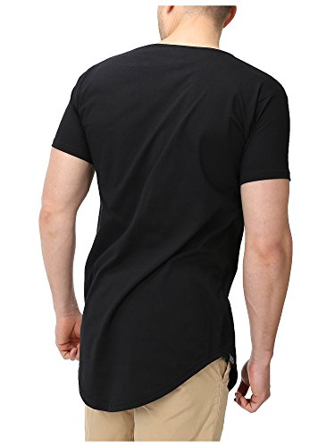 Ape Seven® - Long Tee - Men Longshirt Stylish & Cool Tshirt Oversize Regular/Loose Fit, 3 Colors, S - XL Schwarz