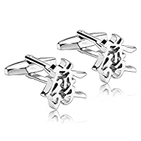 Adisaer Stainless Steel Cufflinks for Men Chinese Character