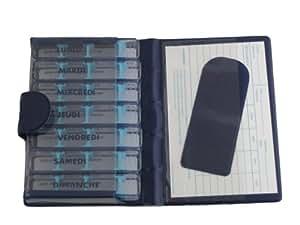 Pilulier semainier, MEDIDOS - LUXE, BLEU, indications en FRANÇAIS, trousse de poche, 7 jours individuels, 28 compartiments modulables, pour médicaments peu volumineux. Etui solide, rigide, matière synthétique semi-mate. Dimensions de la trousse qui contient 7 boites : 15,5 x 10 x 2 cm. Dimensions de chaque boite à 4 compartiments : 9,5 x 2 x 1,7 cm. Dimensions de chaque compartiment : environ 1,5 x 1,5 x « modulable » cm. Poids total vide 160gr.