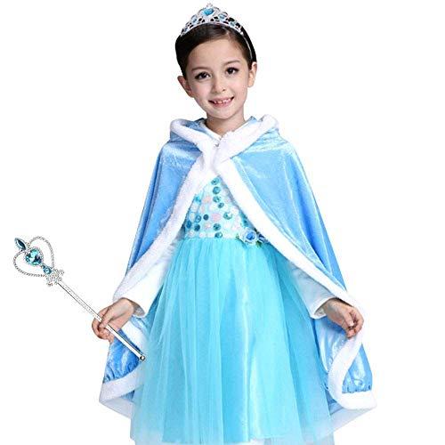 Vicloon Prinzessin Kostüm Mädchen, Eiskönigin ELSA Kleid Blau mit Diademe & Zauberstab, für Weihnachten Karneval Party Halloween,Elsa Blau,3 ()