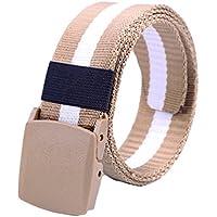 XIANGYINGZHIJIA Correa de Cinturón de Lona Correa de Cinturón de Moda de Moda, Raya de Color Caqui 110cm