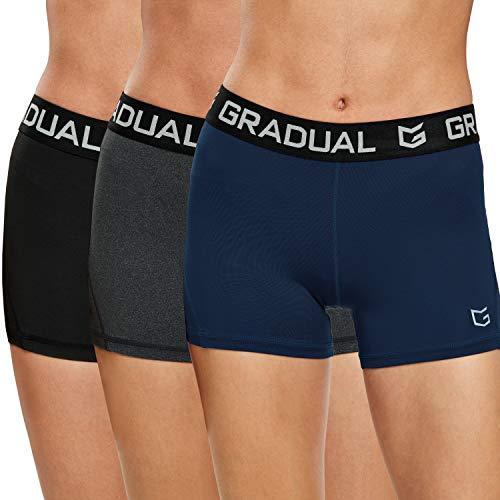 G Gradual Damen Spandex Kompressions-Volleyball-Shorts, 7,6 cm - - X-Klein