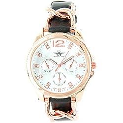 Michael John Damen Damen-Armbanduhr Leder schwarz und Diamanten CZ Michael John 145