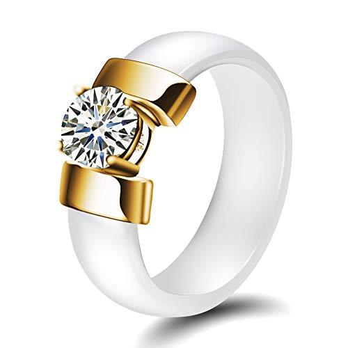 AllRing Herrenring aus Keramik, Schwarzer und weißer Diamant Keramikringe mit Zirkon-Ringen -