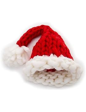 GWELL Handgemachte Strickmütze aus Islandwolle Wintermütze Weihnachtsmütze Nikolausmütze mit Pompon für Damen...