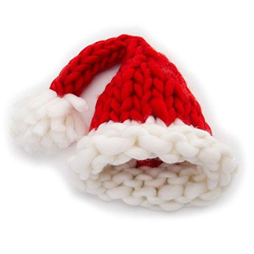 GWELL Handgemachte Strickmütze aus Islandwolle Wintermütze Weihnachtsmütze Nikolausmütze mit Pompon Rot für Kleinkinder 0-3 (Für Halloween Accessoires Babys)