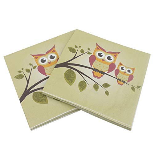 Mkulxina Green Owl Pattern Original Pulp Serviette, ideal für Brunch, Catering-Events, Dinner Parties, Buffets, Frühlingshochzeiten oder den täglichen Gebrauch, 5er Pack - Owl Papier Gewicht