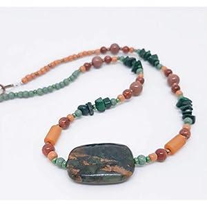 Designer Kette mit grün-goldenem Opal und Malachit Splitter