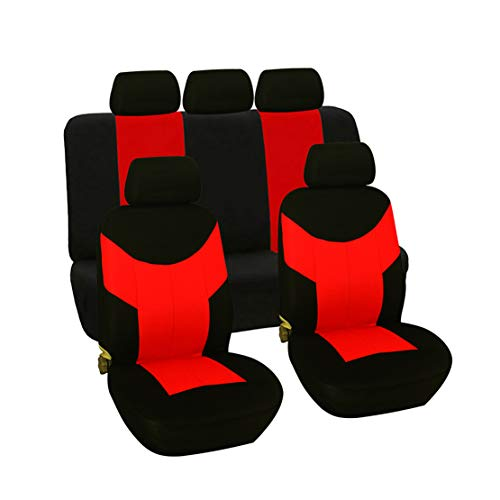 GODGETS Copri-sedili Auto Universale,Set Copri-Sedile Universali per Anteriori e Posteriori, Accessori Auto Interno,Nero Rosso,2 * Seater Anteriore + 3 * Seater Posterio